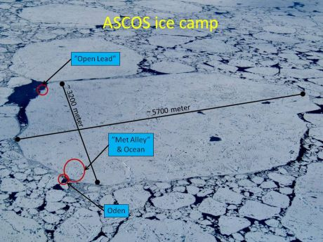 Areal view of ASCOS ice floe from helicopter