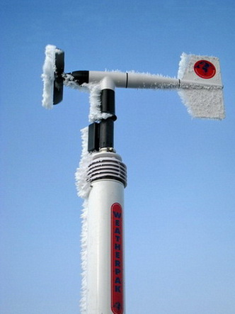 Iced-up prop-wane anemometer