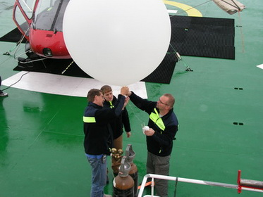 Preparing first balloon sounding